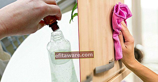 덮개가 있고 내부에 적신 주방 캐비닛을 쉽게 청소하는 방법은 무엇입니까?